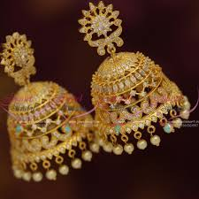 big jhumka gold earrings j7671 big size style cz gold plated design jhumka