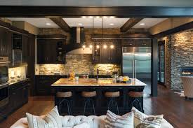 kitchen style hardwood floors and marble countertop with black