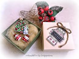 polymer clay christmas jewelry brooch pin winter earrings