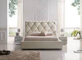 Modern White Headboard by Modern Platform Bed With Black Stitched Headboard In Off White