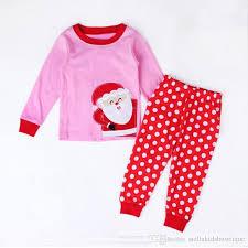 pink white polka dots child pajamas sets santa claus