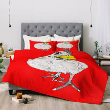 casey rogers chicken yellow comforter deny designs