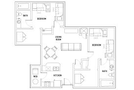 Bedroom Plan Floor Plans Grandmarc Seven Corners Student Housing