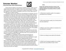 extreme weather 5th grade reading comprehension worksheet