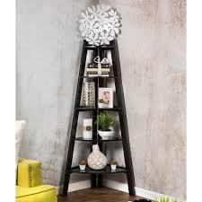 furniture of america kiki 5 tier corner ladder display bookcase