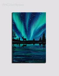 mini painting northern lights painting christmas by artcolorspace