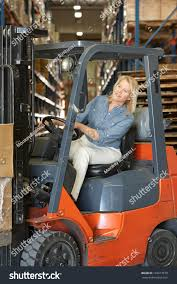 Forklift Truck Driver Jobs Woman Driving Fork Lift Truck Warehouse Stock Photo 129617879