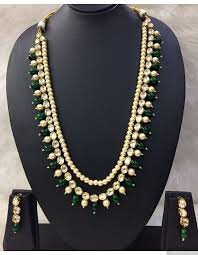 bead necklace long images Kundan pearls and green beads long necklace jpg