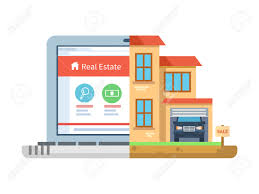 House Building Online by Real Estate Laptop And Building House Isolated Residential