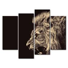 Lion Decor Home by Amazon Com 4 Panel Wall Art Painting Roar Lion Pictures Prints On