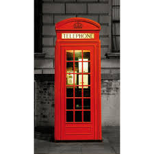 1wall london door mural featuring a red telephone box wall london door mural featuring a red telephone box