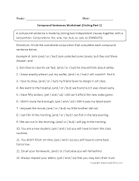 compound sentences worksheets circling compound sentences worksheet