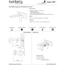 Bathroom Fixture Dimensions by Isenberg 196 1800cp Serie 196 Chrome Wall Mount Bathroom Faucets