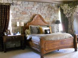 charming rustic bedroom ideas with stacked stone wall exposed also