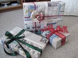 newspaper wrapping paper holidays vintage bleed