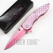 spring assist folding pocket knife femme fatale pink lip