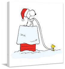 snoopy woodstock sleigh peanuts print on canvas contemporary
