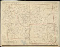 Map Of Montana by Post Route Map Of The States Of Montana Idaho And Wyoming With