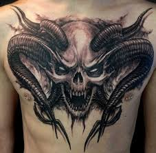 satan skull on chest