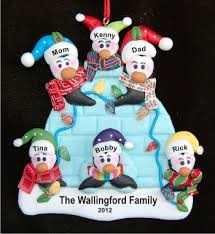 igloo family of 6 ornament personalized