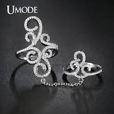 double rings jewelry images Umode vintage rings crown micro cz white gold color full finger jpg