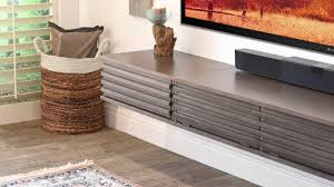 Laminate Flooring Baseboard Cabinet Modern Floating Tv Stand With Wicker Basket On Laminate