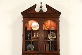 Cherry Secretary Desk With Hutch by Sold Statton Signed Vintage Cherry Secretary Desk Lighted