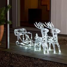 6192 203 acrylic led reindeer with sleigh