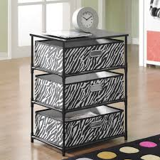 Animal Print Furniture by Altra Black And Zebra Print 3 Bin Storage End Table 7776096