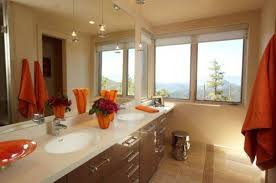 neutral bathroom color ideas with orange accents neutral