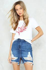 denim skirt that tears it high waisted denim skirt shop clothes at gal