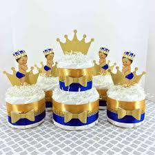 Blue And Gold Baby Shower Decorations by Royal Blue And Gold Little Prince Diaper Cake Centerpiece Set