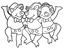 3 little pigs dance coloring page wecoloringpage