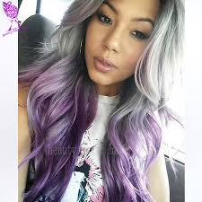 purple wigs ombre synthetic lace front wig two tone grey ombre