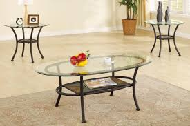 3 piece coffee table set elliptical glass top with stone mosaic