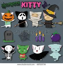 Scream Halloween Costumes Cute Kittens Halloween Costumes Witch Stock Vector 487632736
