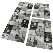 Schlafzimmer Teppich Set Bettumrandung 3 Tlg Designerteppich Läuferset Kariert Meliert Grau