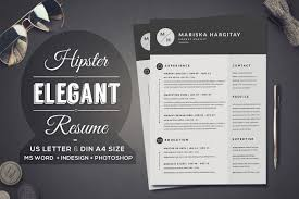 Two Page Resume Header 2 Pages Hipster Elegant Resume Resume Templates Creative Market