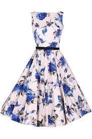 design dress retro floral print sleeveless design a line dress azbro
