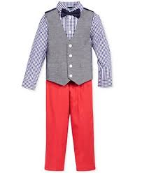 nautica 4 pc gingham shirt and chambray vest set toddler