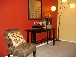 focal point accent wall red wall warm tones basement painting