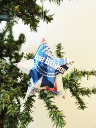 pabst blue ribbon beer stars christmas ornaments set of 2