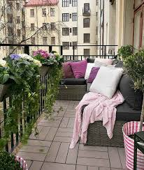 apartment modern balcony idea with brown bench seat feat white