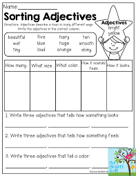 Identifying Adverbs And Adjectives Worksheets Sorting Adjectives Adjectives Describe A Noun In Many Different