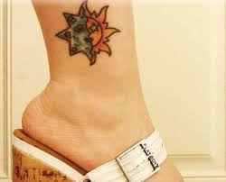 sun and moon color ink on ankle tattooshunt com