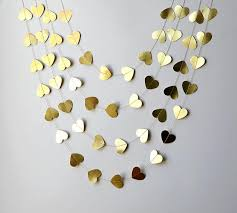 Valentines Day Decor Gold Heart Garland Valentines Day Decor Valentines Garland