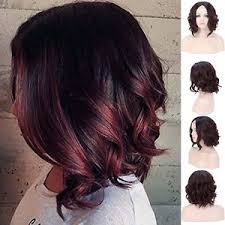 short curly bob wig short curly bob wigs dark roots black wine synthetic hair u part