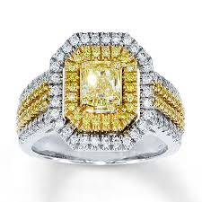 Jared Cushion Cut Engagement Rings Jared Yellow Diamond Ring 1 1 2 Ct Tw Radiant Cut 18k Two Tone Gold