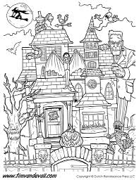 haunted house coloring page in spooky pages eson me