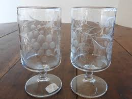 Wine Goblets Rare Vintage Mountaineer Cut Glass Wine Goblets Grape Design Pair